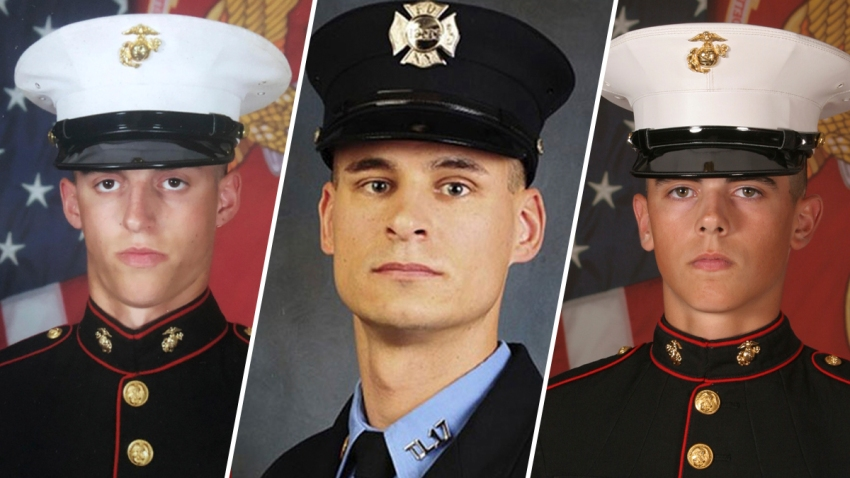 These file photos provided by the U.S. Marine Corps show, Sgt. Benjamin S. Hines, 31, of York, Pa., Staff Sgt. Christopher K.A. Slutman, 43, of Newark, Del., and Cpl. Robert A. Hendriks, 25, of Locust Valley, N.Y.