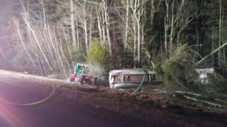 A tractor-trailer carrying 11,000 gallons of gas was involved in a crash on Monday, Dec. 16, 2019 in Epping, New Hampshire.