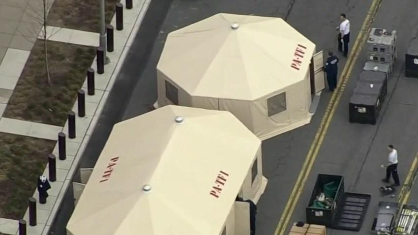 FEMA tents set up outside Citizens Bank Park in Philadelphia.