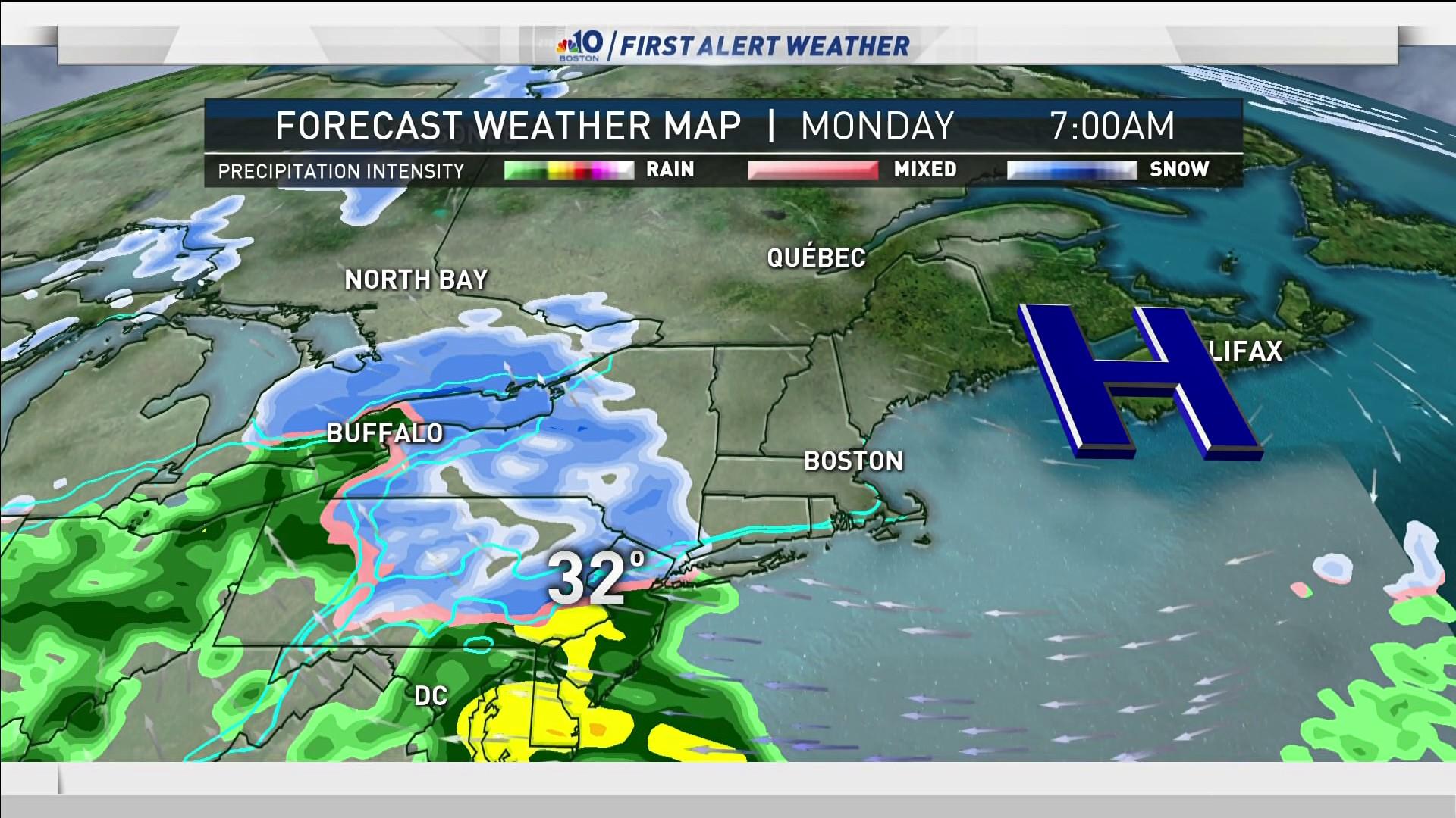 Forecast Sunny Sunday Snow Develops Monday Nbc Boston