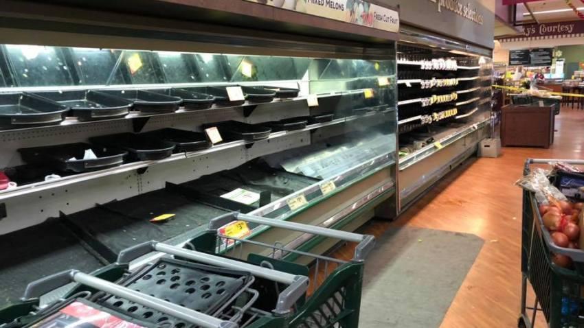Empty shelves at Gerrity's supermarket