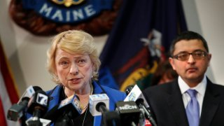 Gov. Janet Mills and Dr. Nirav Shah discussing coronavirus at a news conference at the State House on March 12, 2020, in Augusta, Maine.