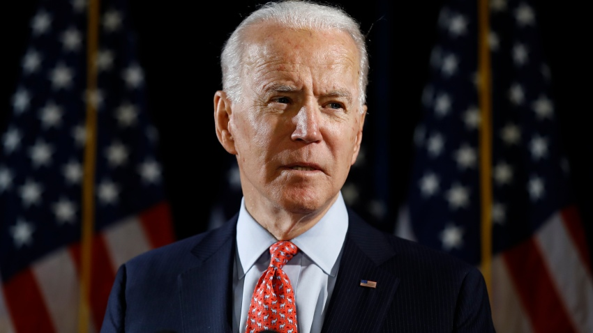 In this March 12, 2020, file photo, Democratic presidential candidate former Vice President Joe Biden speaks about the coronavirus in Wilmington, De.