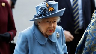 In this Monday, March 9, 2020, file photo, Britain's Queen Elizabeth II arrives to attend the annual Commonwealth Day service at Westminster Abbey in London.