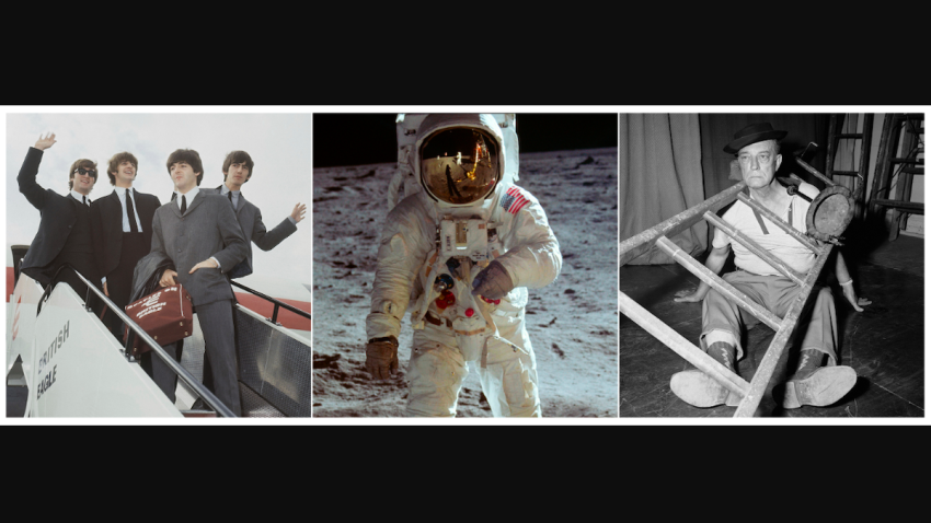 """This combination photo shows, The Beatles, a scene from the film """"Apollo 11,"""" and a portrait of Buster Keaton."""