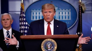In this April 16, 2020, file photo, President Donald Trump speaks about the coronavirus in the James Brady Press Briefing Room of the White House in Washington.