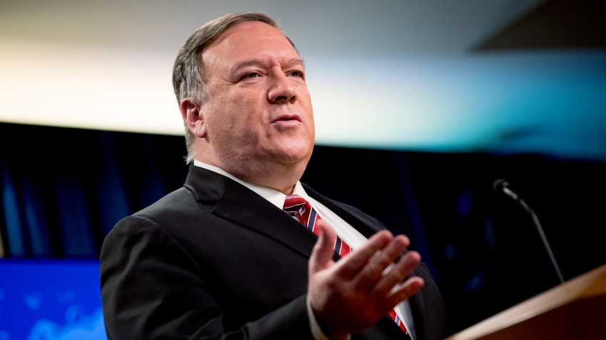 In this April 29, 2020, file photo Secretary of State Mike Pompeo speaks at a news conference at the State Department in Washington.