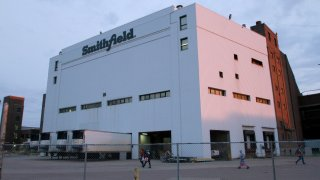 Employees of two departments at the Smithfield pork processing plant in Sioux Falls, S.D. report to work on Monday, May 4, 2020, as the plant moved to reopen after a coronavirus outbreak infected workers.