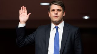 Nominee Justin Walker to be U.S. District Judge for the District of Columbia Circuit swears in before testifying at a Senate Judiciary Committee hearing on Capitol Hill in Washington, Wednesday, May 6, 2020.