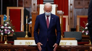 Democratic presidential candidate, former Vice President Joe Biden bows his head in prayer during a visit to Bethel AME Church in Wilmington, Del., Monday, June 1, 2020.