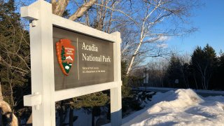 Acadia National Park sign winter