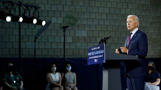 In this June 25, 2020, file photo Democratic presidential candidate, former Vice President Joe Biden speaks during an event in Lancaster, Pa. Biden and his leading supporters are stepping up warnings to Democrats to avoid becoming complacent.