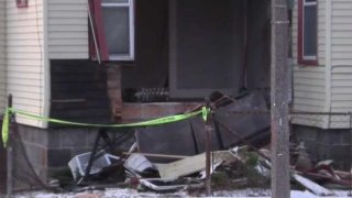 A car crashed into a Mattapan home early Sunday morning.