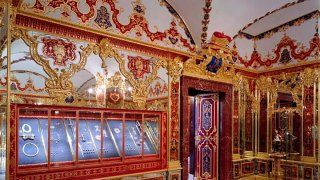 This undated photo provide by the State Art Collection in Dresden on Monday, Nov. 25, 2019, shows the Jewelery Room of the Green Vault with the display cases, left, showing the part of the collection that was affected by the robbery on the morning of Monday, Nov. 25, 2019, in Dresden.