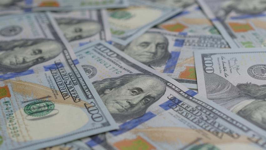 One-hundred-dollar bills splayed out