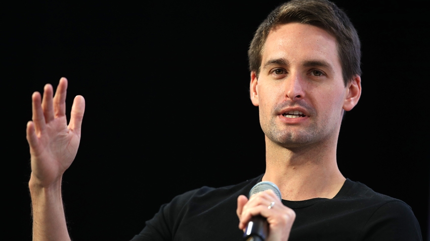 FILE - Snap Inc. co-founder and CEO Evan Spiegel speaks during the Disrupt SF 2019 conference at Moscone Center, Oct. 4, 2019, in San Francisco.