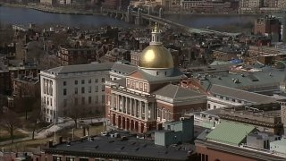 A photo of the Massachusetts State House in Boston.