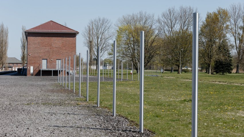 View of the former prisoner block 21-24 on the site of the former concentration camp Neuengamme, on April 15, 2019.
