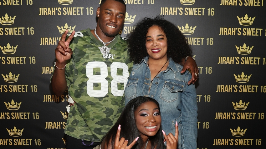 From left to right, KalanFrFr, Jirah Mayweather and her mother Josie Harris attend Mayweather's 16th birthday party