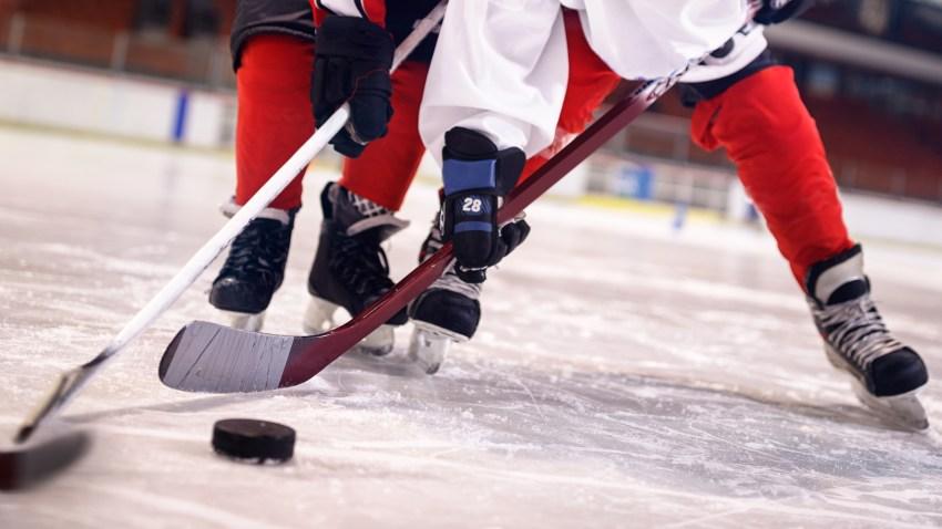 youth ice hockey stock image