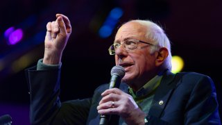 Democratic presidential candidate Sen. Bernie Sanders (D-VT) speaks at a rally on December 16, 2019 in Rancho Mirage, California.