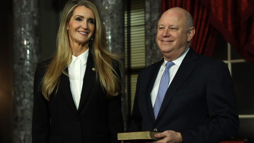 U.S. Sen. Kelly Loeffler (R-GA) and her husband Jeff Sprecher wait for the beginning of a ceremonial swearing-in at the Old Senate Chamber of the U.S. Capitol Jan. 6, 2020, in Washington, DC.