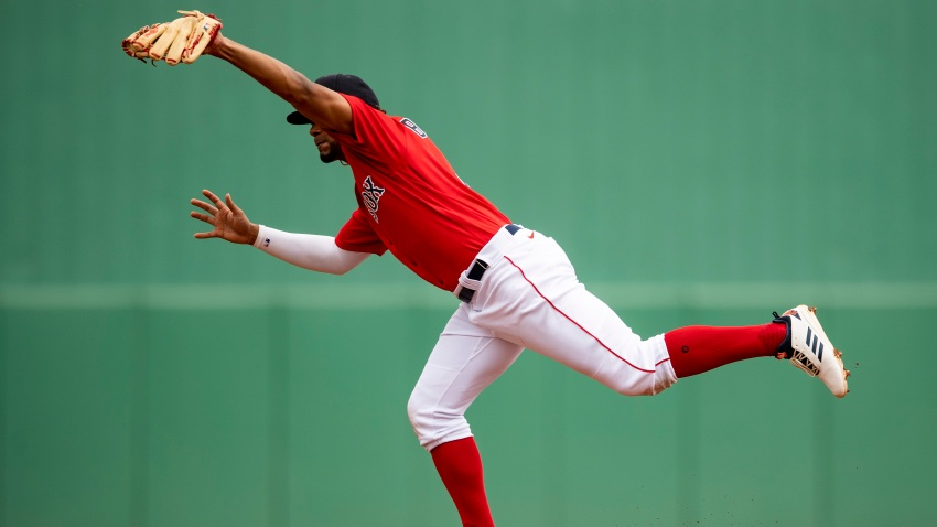 Xander Bogaerts of the Boston Red Sox catches a line drive during the first inning of a Grapefruit League game against the St. Louis Cardinals on March 10, 2020 at jetBlue Park at Fenway South in Fort Myers, Florida.
