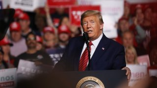 President Donald Trump appears at a rally on the eve of the South Carolina primary