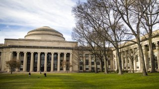 This April 20, 2020, file photo shows the lawn outside Building 10 on the Massachusetts Institute of Technology campus in Cambridge, Massachusetts.