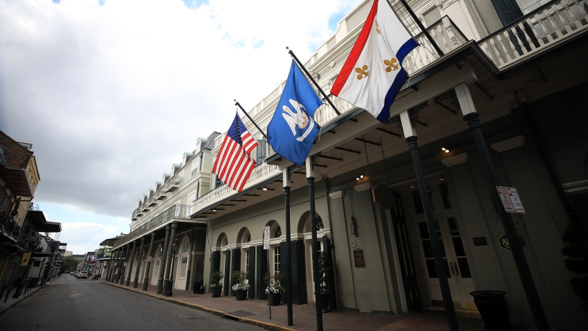 flags in New Orleans' French Quarter