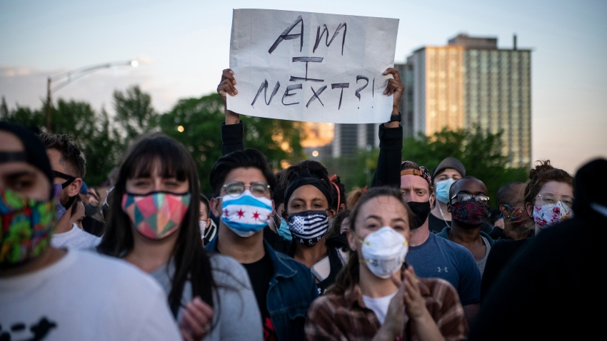 Demonstrators take part in a protest in Uptown neighborhood of Chicago, the United States, June 1, 2020.