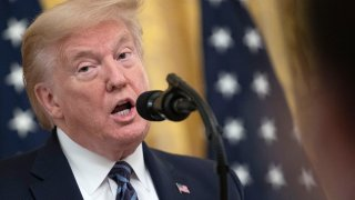 In this April 30, 2020, file photo, President Donald Trump speaks during an event on protecting America's senior citizens in the East Room of the White House in Washington.