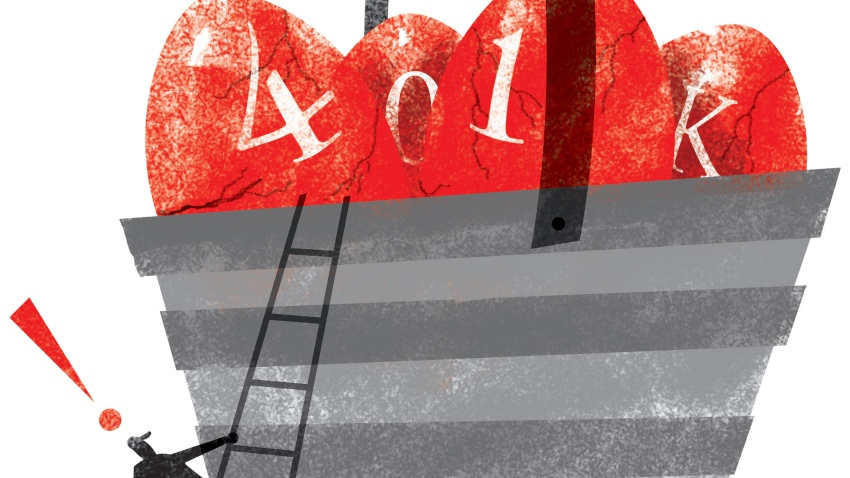 illustration of a person climbing a ladder toward a giant basket filled with eggs labeled 401(k)