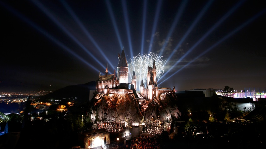 Hogwarts Castle at the opening of the 'Wizarding World of Harry Potter""
