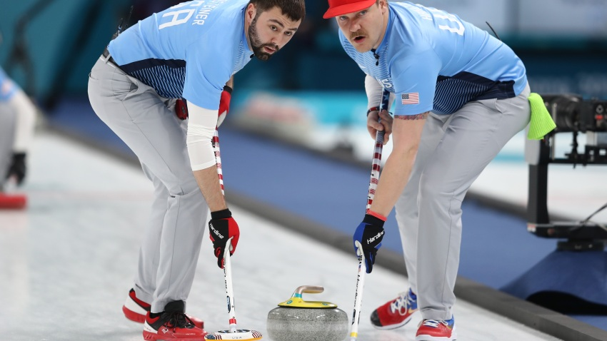 Matt Hamilton and John Landsteiner of the United States curling team