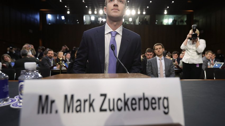 Facebook co-founder, Chairman and CEO Mark Zuckerberg arrives to testify before a combined Senate Judiciary and Commerce committee hearing in the Hart Senate Office Building on Capitol Hill April 10, 2018 in Washington, DC.