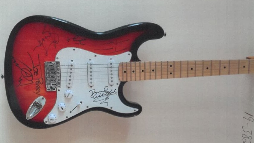 Joe Perry signed stolen guitar
