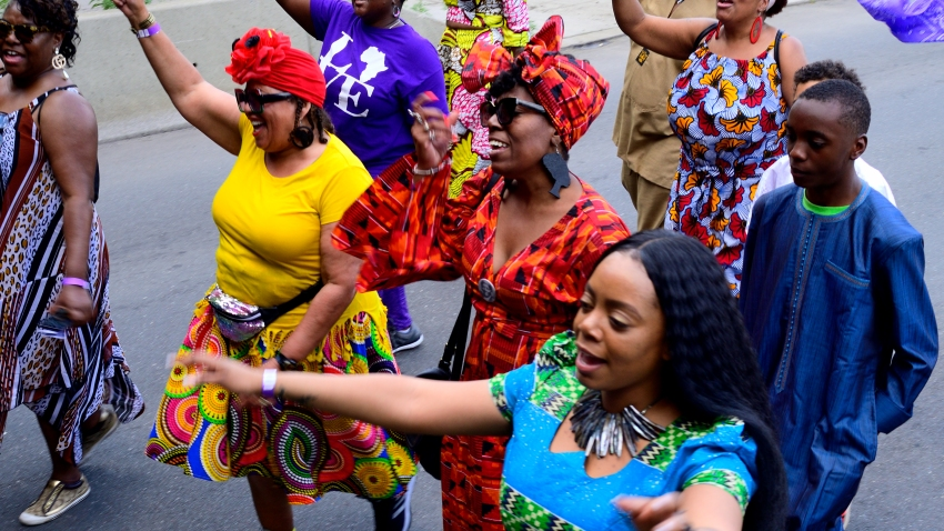 In this June 22, 2019, file photo, elected officials, community leaders, youth and drum and marching bands take part in the second annual Juneteenth Parade, in Philadelphia, Pennsylvania. Juneteenth was declared an official state holiday by Pennsylvania Governor Tom Wolf.