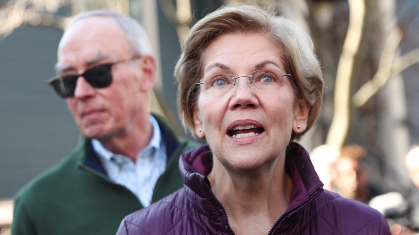 Elizabeth Warren outside her home in Boston, Mass.