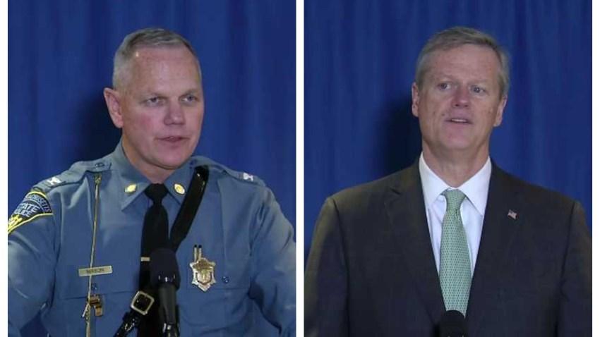 Massachusetts State Police Department Col. Christopher Mason and Gov. Charlie Baker speak at a press conference on Thursday, Jan. 16, 2020.
