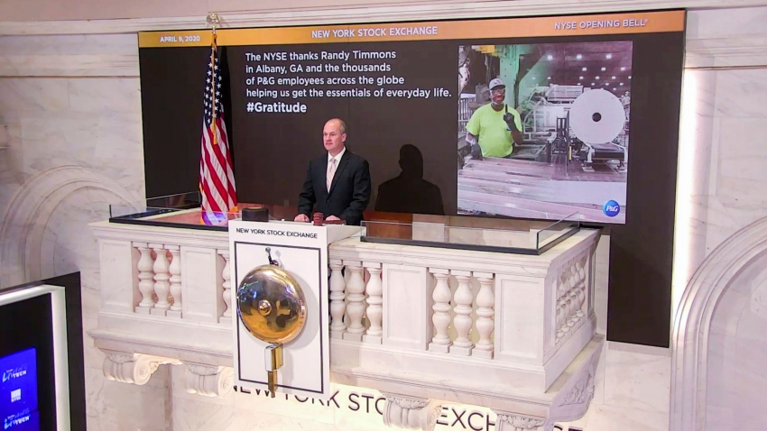 On behalf of The New York Stock Exchange, Kevin Fitzgibbons, Chief Security Officer, rings The Opening Bell on Thursday, April 9, 2020 in New York.