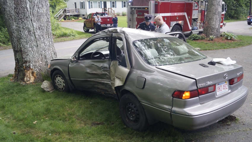 Scene photo from a deadly one-car crash in Norton, Massachusetts.