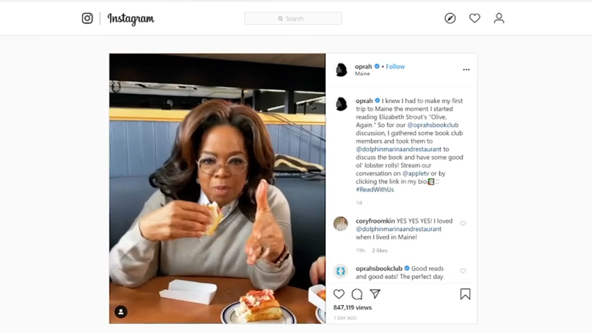 Oprah Gives Lobster Roll Thumbs Up on First Trip to Maine