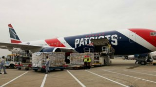A shipment of personal protective equipment that the New England Patriots' plane flew from China to the United States on April 2.