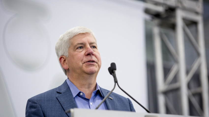 Rick Snyder, governor of Michigan, speaks during the opening of the Martinrea International Inc. technical center in Auburn Hills, Michigan, U.S., on Thursday, May 17, 2018.