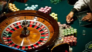 A roulette table.