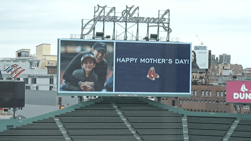 """A """"Happy Mother's Day"""" message on the Red Sox field board"""