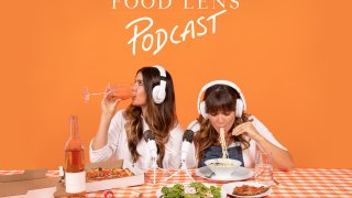 The cover art for the Food Lens podcast, which shows the two hosts, Molly Ford and Catherine smart eating food with their headphones on.