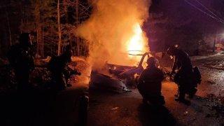 Tesla caught on fire