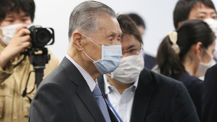 """Tokyo 2020 Organizing Committee President Yoshiro Mori arrives for the first meeting of the """"Tokyo 2020 New Launch Task Force"""" in Tokyo, Thursday, March 26, 2020, two days after the unprecedented postponement was announced due to the spreading coronavirus."""